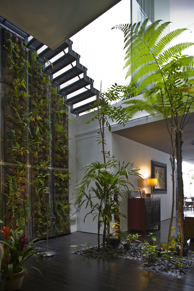 Tagged: Sofa, Front Yard, Dark Hardwood Floor, Trees, Ceiling Lighting, Staircase, and Wood Patio, Porch, Deck.  Photo 3 of 13 in This Modern Home in Singapore Is a Living Urban Jungle