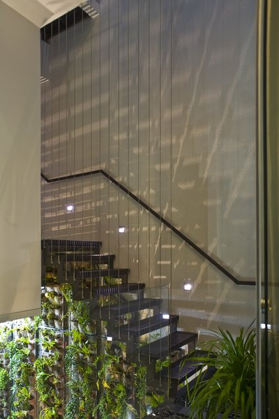 Modern home with wood patio, porch, deck, metal tread, table, ceiling lighting, sofa, gardens, bed, shelves, dark hardwood floor, rooftop, and staircase. Photo 11 of Tree House at Jalan Elok