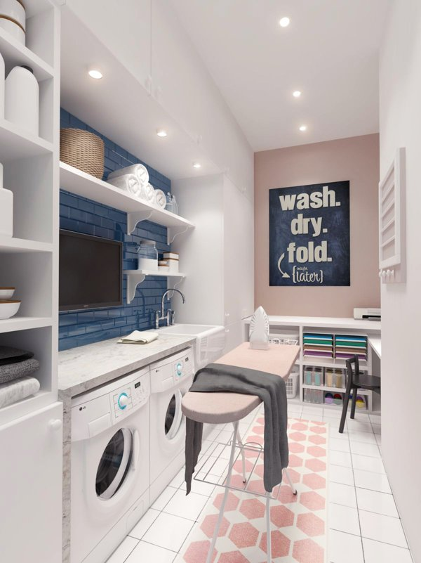 Thiss Scandi-inspired two-story home near Lake Malakhovskoye in Russia by Russian practice INT2 Architecture has a commodious pastel colored laundry room with a cozy little sewing nook.