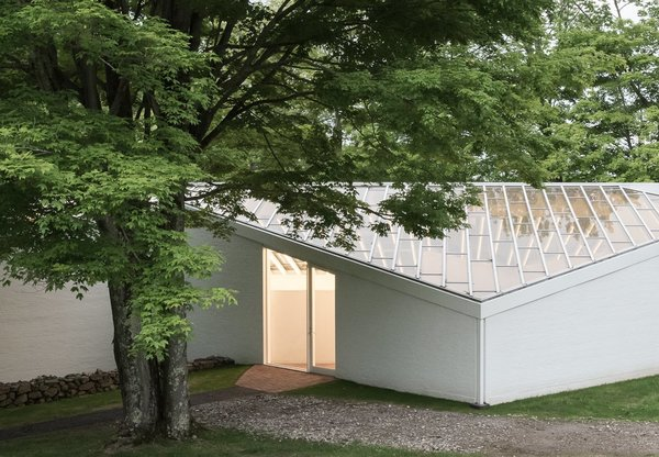 The Sculpture Gallery in architect Philip Johnson's Glass House Estate in New Canaan, Connecticut is a skylighted space with an almost entirely glass roof that showcases Johnson's art collection.