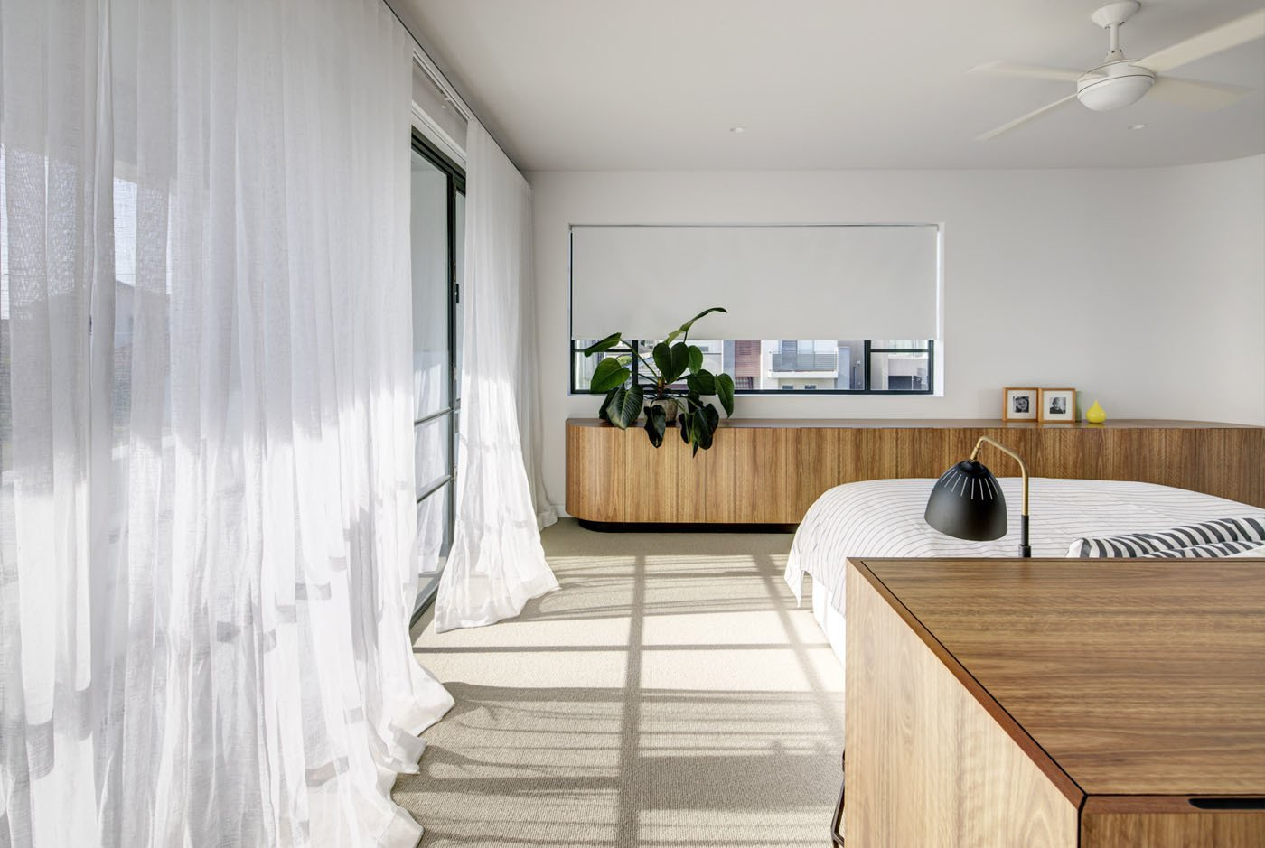 Tagged: Bedroom, Storage, Bed, and Carpet Floor.  Photo 10 of 12 in A Heritage Art Deco House in Australia Gets a Modern Update