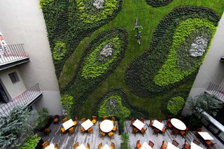 To disrupt the viewer's senses, a bicycle was added to this massive green wall inside the courtyard of an old colonial building in Mexico City.