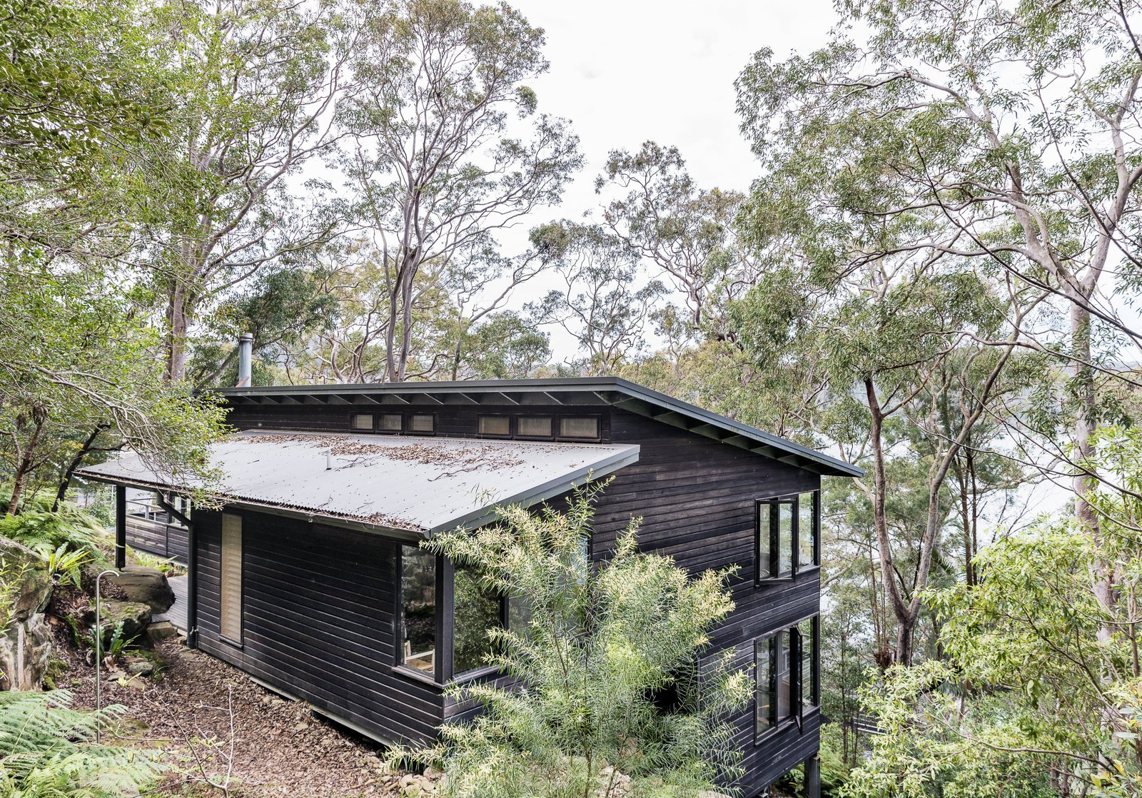 North of Sydney on Dangar Island is a modern Australian vacation rental that's positioned to take full advantage of views of the Hawkesbury River and gorgeous native Angophora trees. Tagged: Exterior, Wood Siding Material, House, and Shed RoofLine.  Photo 1 of 13 in Stay in a Riverside Vacation Home That Embraces the Australian Bush