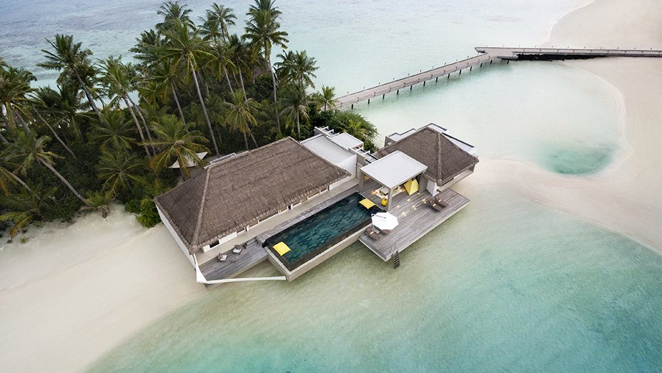 This resort offers two types of overwater villas – the Water Villa which many terraces overhanging above the sea, and the Garden Water Villa, which dips into the lagoon on one side while facing a lush tropical garden on the other.  Photo 5 of 9 in 9 Modern Maldivian Resorts With Spectacular Overwater Villas