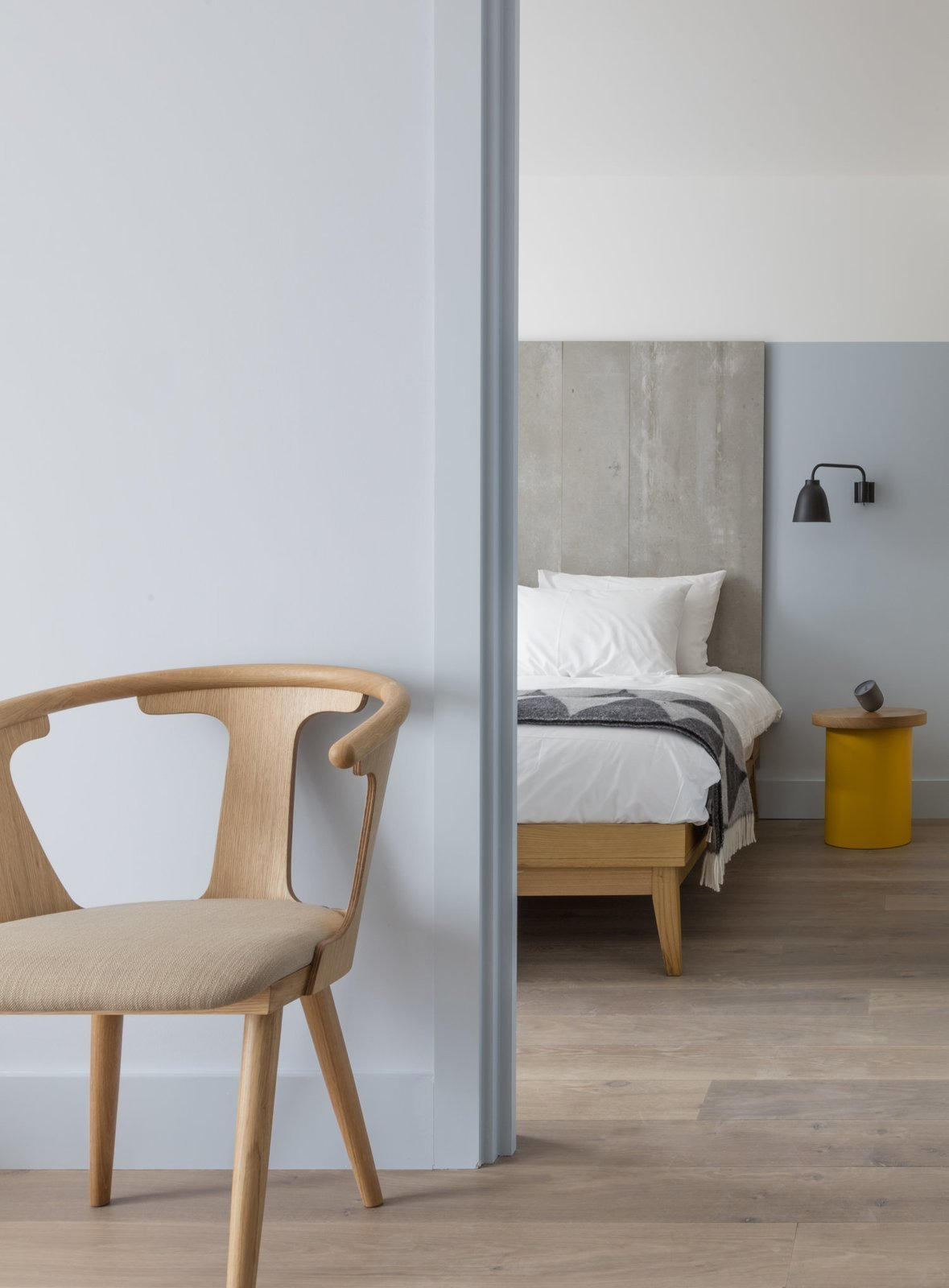 Designed by Grzywinski+Pons, Leman Locke London is a service apartment style hotel that has furniture items like retractable desks and flip-up tables to make the most of space.