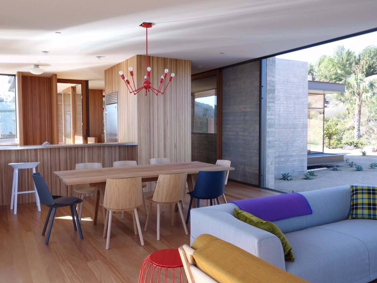 Tagged: Dining Room, Medium Hardwood Floor, and Accent Lighting. Take Your Next Vacation in a Midcentury Home in the Santa Monica Mountains - Photo 3 of 13