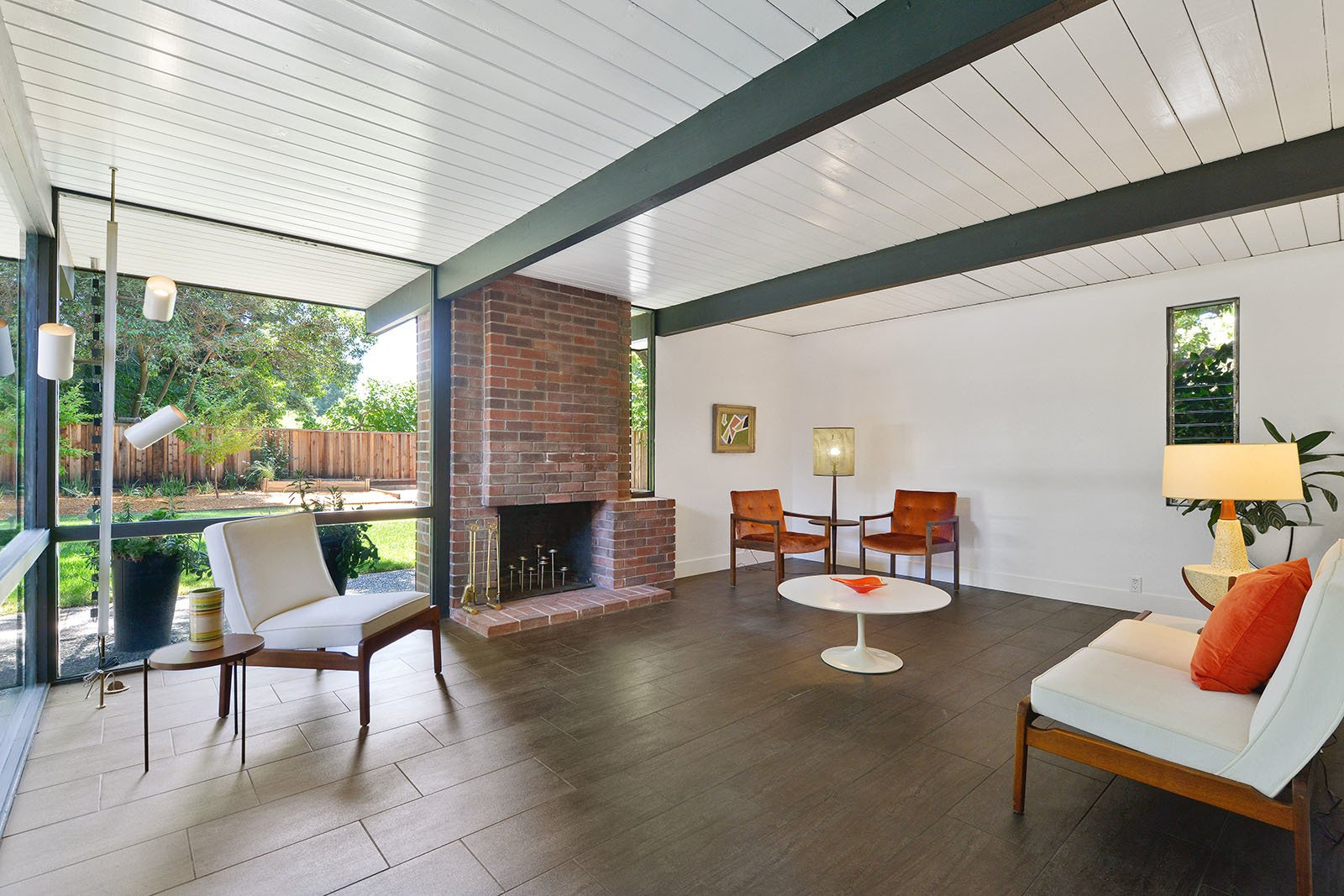 Tagged: Living Room, Standard Layout Fireplace, and Wood Burning Fireplace.  Photo 4 of 15 in An Enormous Bay Area Eichler Asks $1.45M