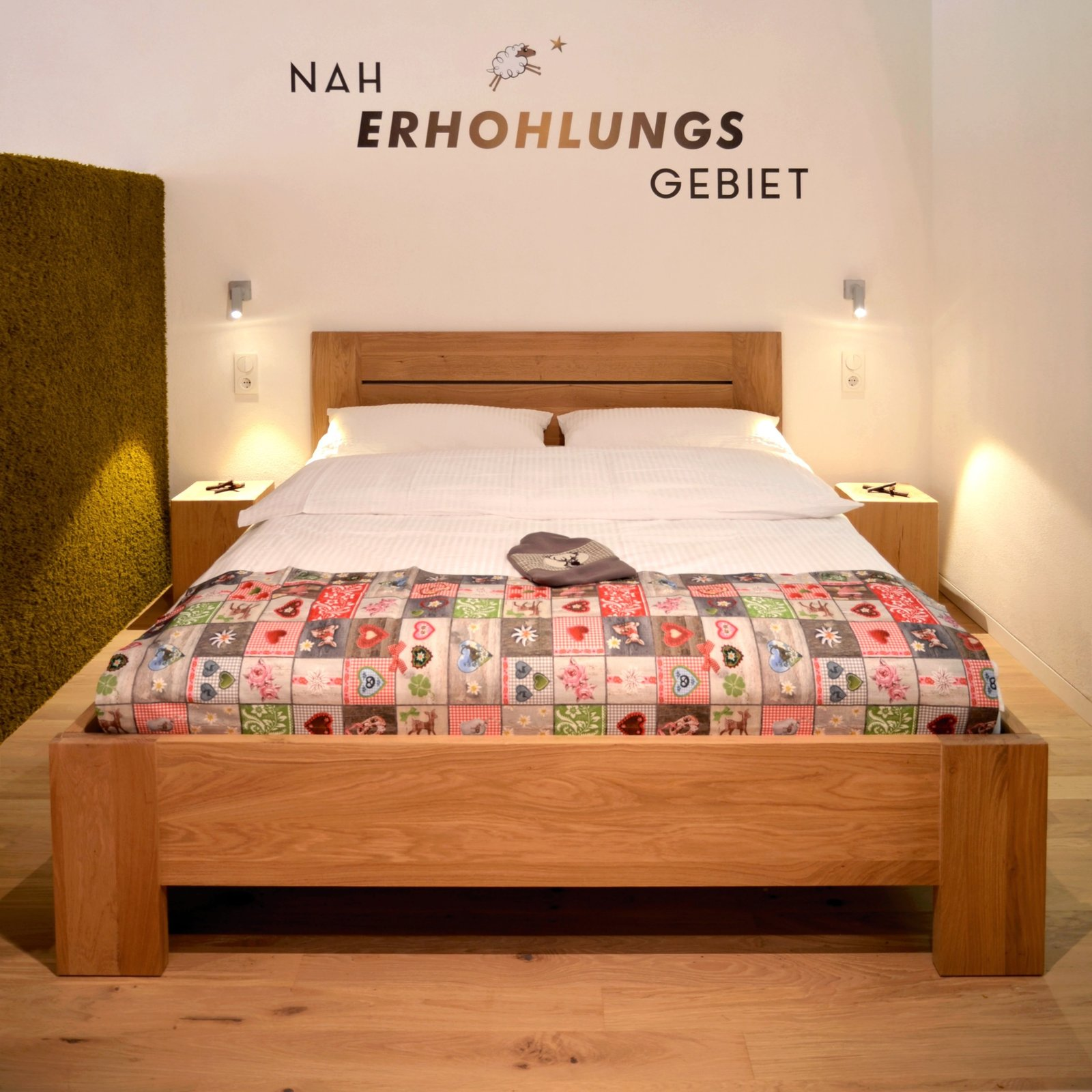 Tagged: Bedroom, Bed, Wall Lighting, Night Stands, and Light Hardwood Floor.  Refugium Betzenstein by Dwell from Escape to a Bio-Passive Vacation Refuge in a Bavarian Nature Park