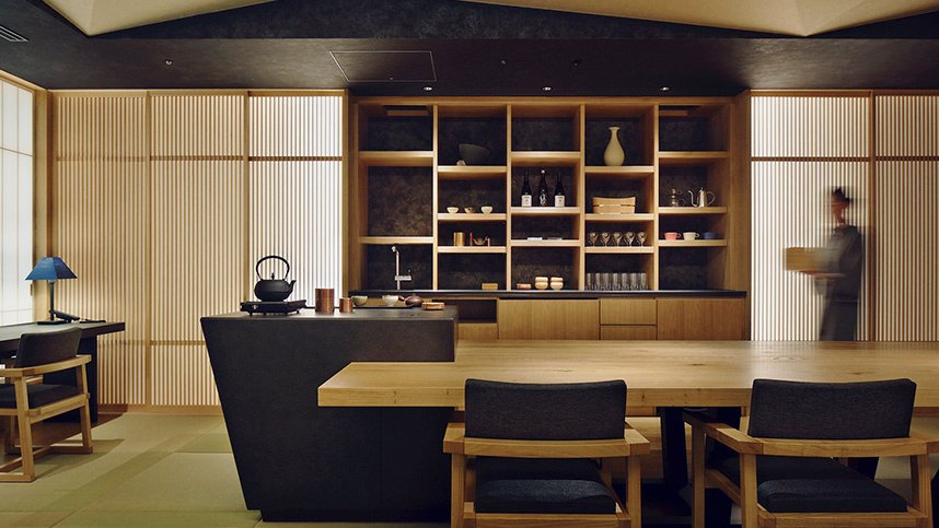 Opened in 2016, the rooms and public areas in this 17 floor hotel are inspired by traditional Japanese ryokans and have floors that are covered in a mosaic of tatami mats.  Photo 7 of 8 in 7 Modern Japanese Hotels That Will Help You Find Your Zen