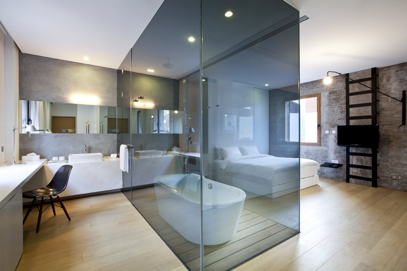 The interiors at Waterhouse at South Bund in Shanghai, China Tagged: Bath Room, Freestanding Tub, and Soaking Tub.  Photo 12 of 24 in 12 Modern Hotels in Historic Buildings Around the World
