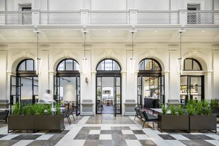 12 Modern Hotels in Historic Buildings Around the World - Photo 15 of 24 - Housed in a restored 140-year-old state treasury building in the downtown area of Perth, Australia, Como The Treasury's 48 rooms and suites have high ceilings, cornicing, and balconies.