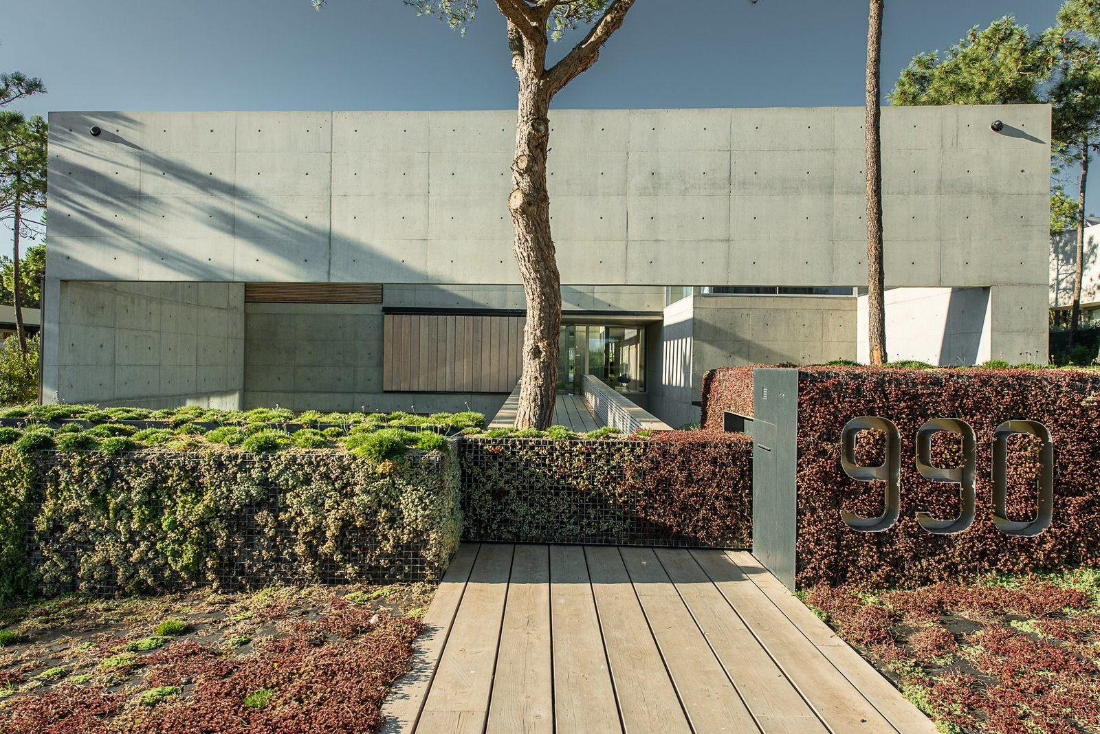 Tagged: Front Yard, Hardscapes, Trees, Exterior, Concrete Siding Material, and House. A Pool With a Glass Bottom Hovers Over Another at a House in the Portuguese Riviera - Photo 6 of 13