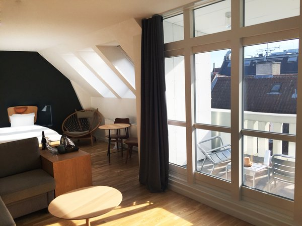 With slate-colored walls, plenty of leather and wood in the communal areas, industrial-style decor and bedrooms with unusual reading-friendly headboards, Hotel SP34 is a great way to enjoy Copenhagen in style.