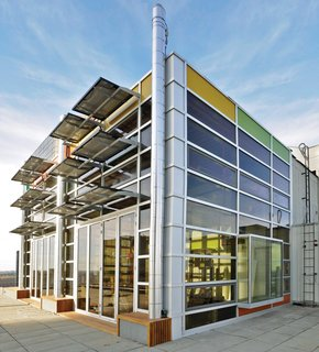 9 Eco-Friendly Homes With Smart, Sustainable Features - Photo 1 of 9 - Designed for close to net-zero energy consumption, architect Vivian Manasc's colorful rooftop penthouse in Edmonton, Canada, is equipped with solar panels that generate electricity. Waste heat emissions from the elevator core help warm the space passively.