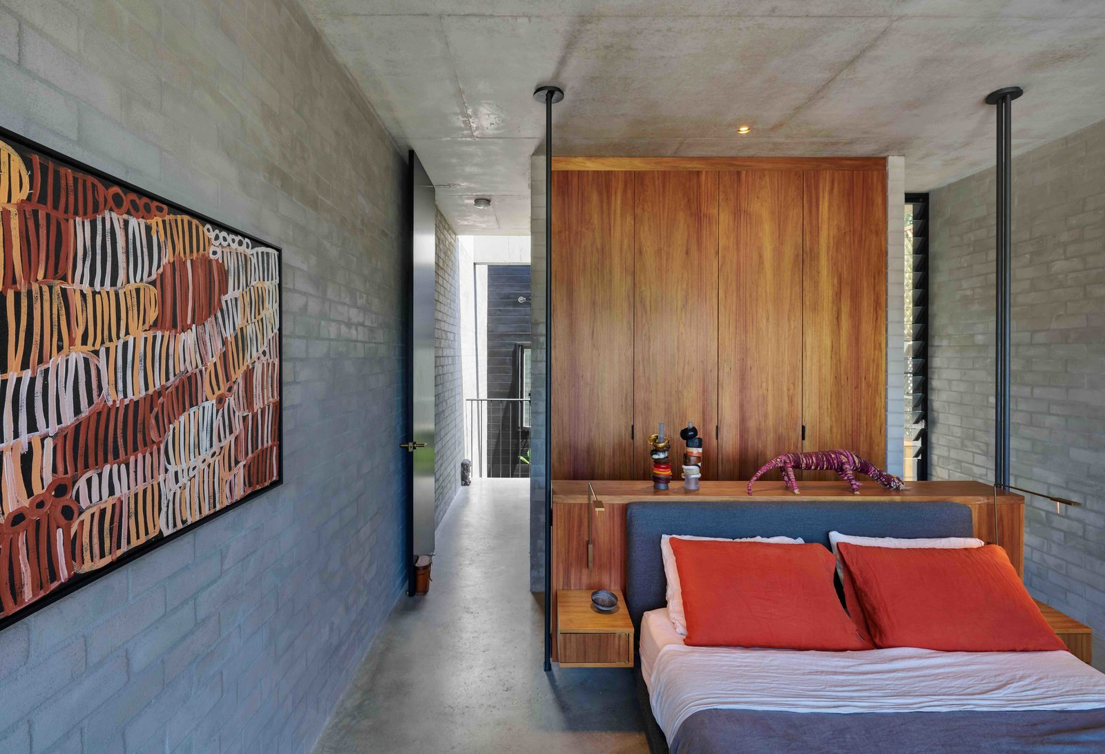 Tagged: Bedroom, Bed, Storage, Wardrobe, Concrete, Ceiling, Recessed, and Wall.  Best Bedroom Storage Ceiling Photos from Find Out How Light and Precious Outdoor Space Was Introduced to an Old Australian Cottage