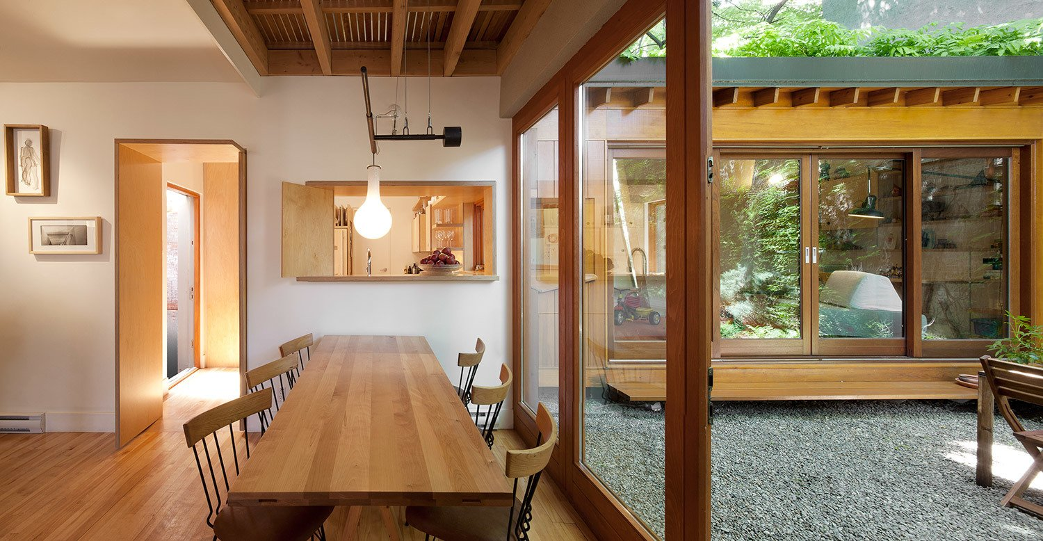 7 Incredible Modern Homes by Canadian Architect Paul Bernier - Photo 5 of 7 - A minimal material palette of oiled yellow birch and oxidized steel gives the interiors a Japanese-inspired, Zen-like feel.