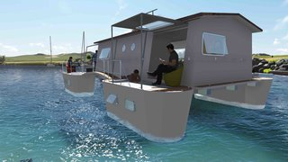 6 Modular Houseboat and Floating Home Manufacturers Around the World - Photo 2 of 6 - French company Farea manufactures floating homes that are certified as boats. This is important in France, as it means the houses are allowed in lakes, lagoons, and at sea. They're about 915 square feet each and come with five twin cabins, three terraces, and a kitchen. The structures can produce their own water and electricity and are packaged in a 40-foot-long transportable container for international shipments.