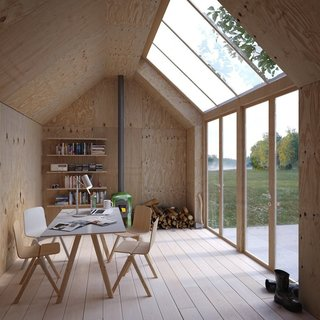 10 Prefabricated or Modular Structures That Use Plywood in Creative Ways - Photo 10 of 11 - Designed by Stockholm firm Waldemarson Berglund Arkitekter, Ateljé 25 is a modular artist's studio that's shaped like a Monopoly house. It has simple plywood interiors and large skylights.