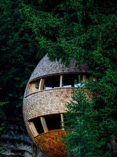 These Tree Houses in the Dolomites Look Like Egg-Shaped Pinecones - Photo 1 of 11 -
