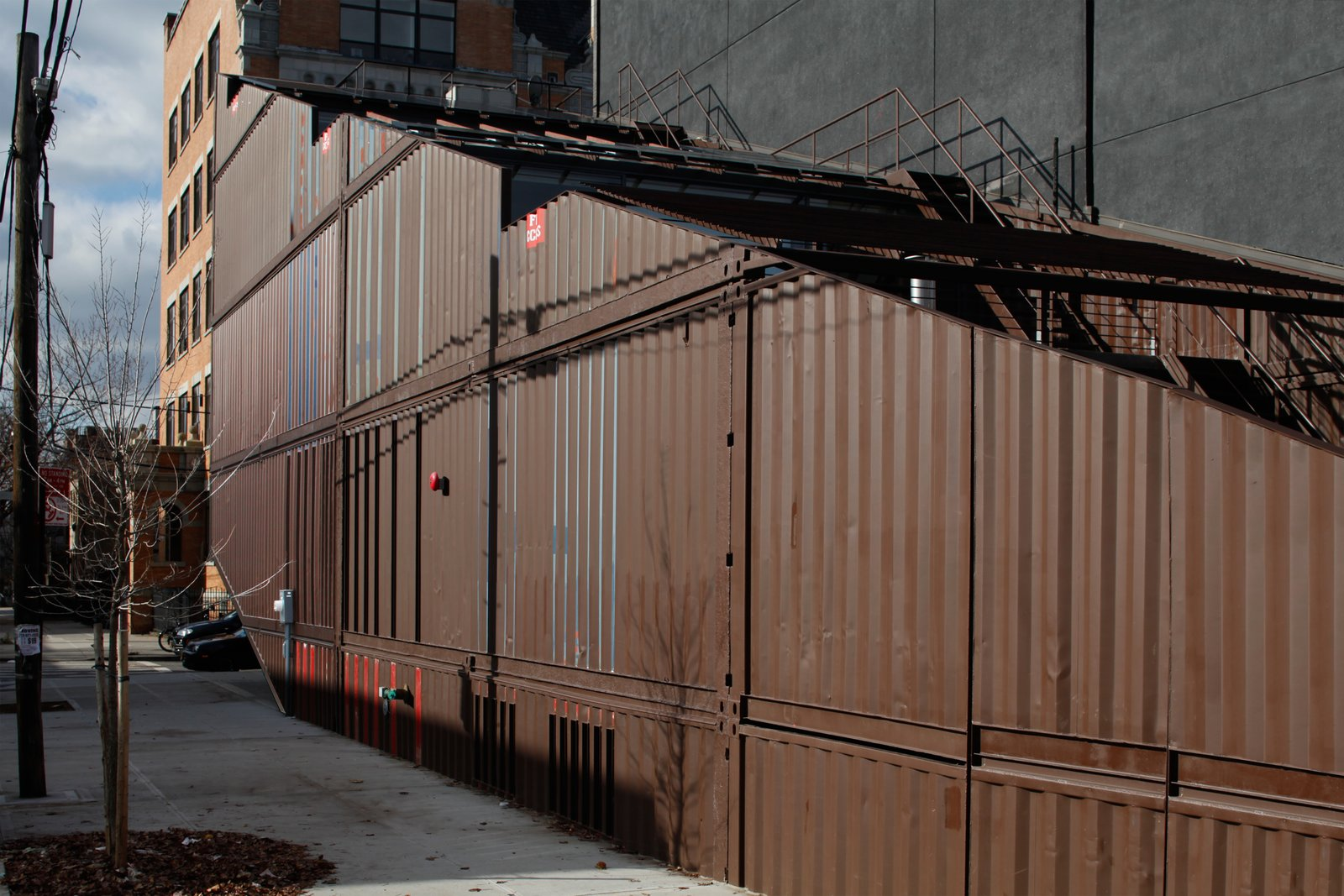 Tagged: Exterior, Metal Siding Material, Shipping Container Building Type, and House.  Photo 4 of 13 in An Amazing Home in Brooklyn Made Out of 21 Shipping Containers