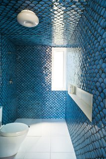 8 Bold Bathrooms That Don't Back Away From Color - Photo 3 of 9 - In this rehabilitated 19th-century Brooklyn duplex, architect and owner Gil DeSimio painstakingly covered the walls of his upper-level bathroom with these beautiful glossy blue fish scale tiles.