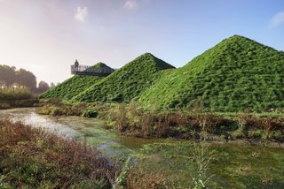 7 Peaked Structures With Pyramid-Inspired Roofs - Photo 6 of 7 - When Rotterdam-based firm Studio Marco Vermeulen renovated the Biesbosch Museum in the wetlands of De Biesbosch National Park, they added green roofs to the hexagonal pyramids of the original building to help it blend in with its surroundings.