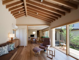 A Super-Insulated Home in Japan Brings Comfort to an Elderly Couple - Photo 2 of 14 - The living room features a sofa by Room & Board club chairs by Dartbrook Rustic Goods.