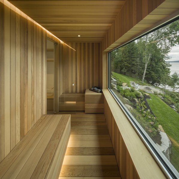 A sauna that looks out to the lake.