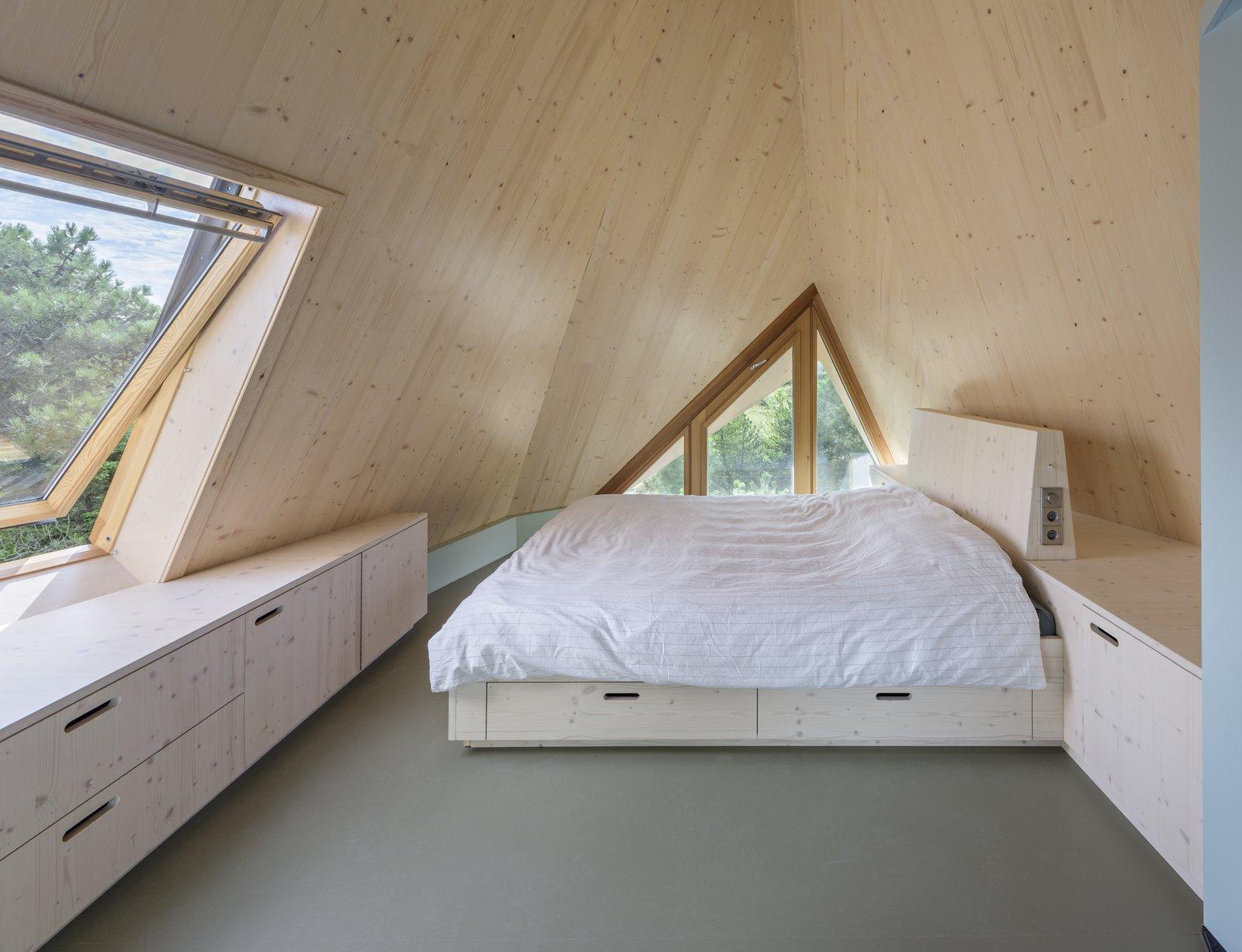 An attic bedroom.