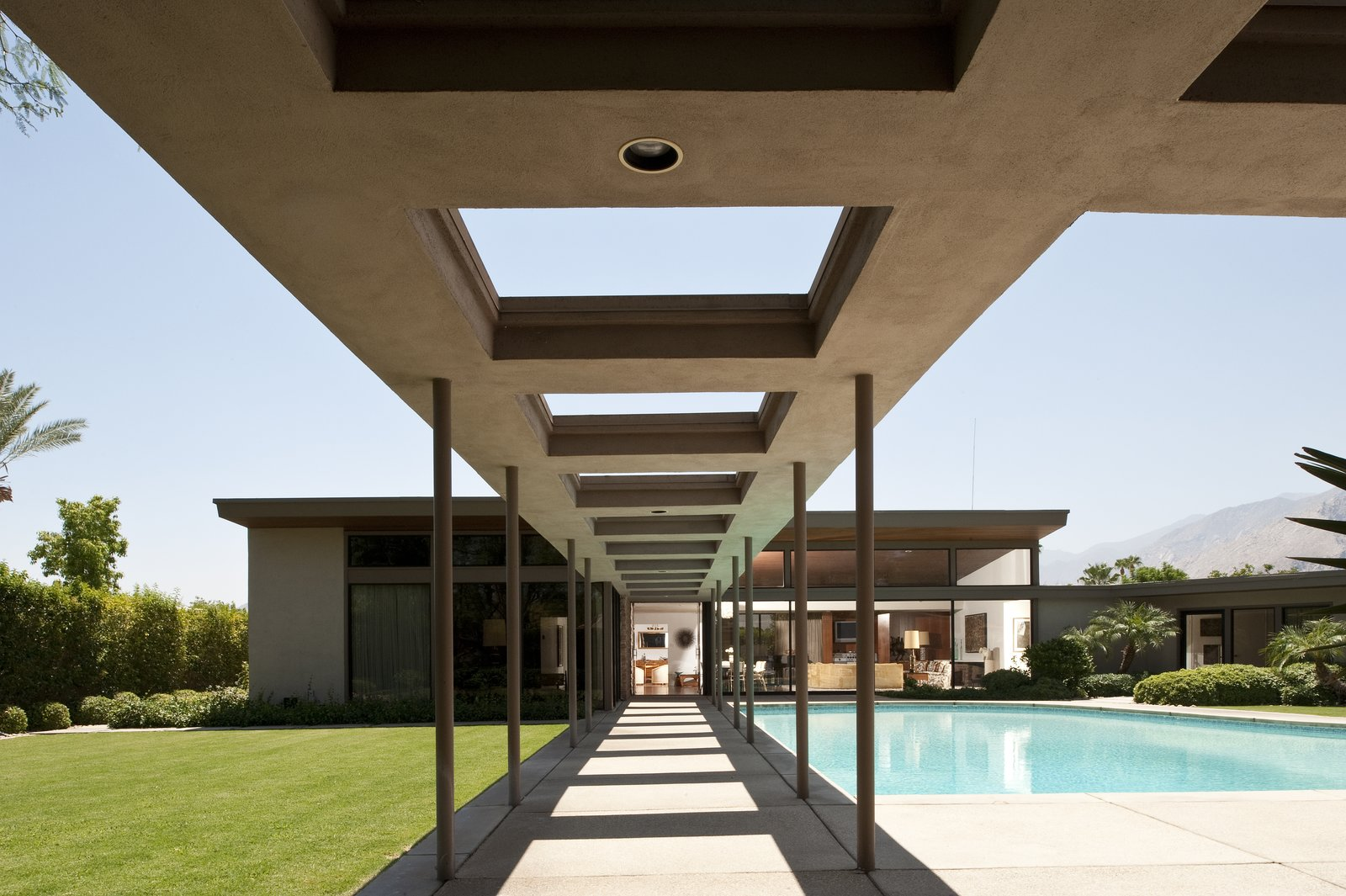 """Frank Sinatra's """"Twin Palms"""" Estate Tagged: Outdoor, Large Pools, Tubs, Shower, Grass, Swimming Pools, Tubs, Shower, and Concrete Patio, Porch, Deck.  Photo 7 of 10 in 10 Things You Shouldn't Miss at Modernism Week in Palm Springs"""