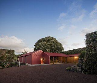 A Bright Red Island Residence Embraces a Linden Tree - Photo 2 of 13 -