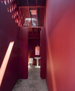 A Bright Red Island Residence Embraces a Linden Tree - Photo 12 of 13 - A bathroom with red walls and ceilings