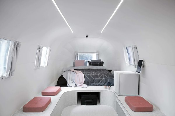 Interiors of one of the Airstream suites in Notel – a unique, all-trailer boutique hotel in Melbourne, Australia.