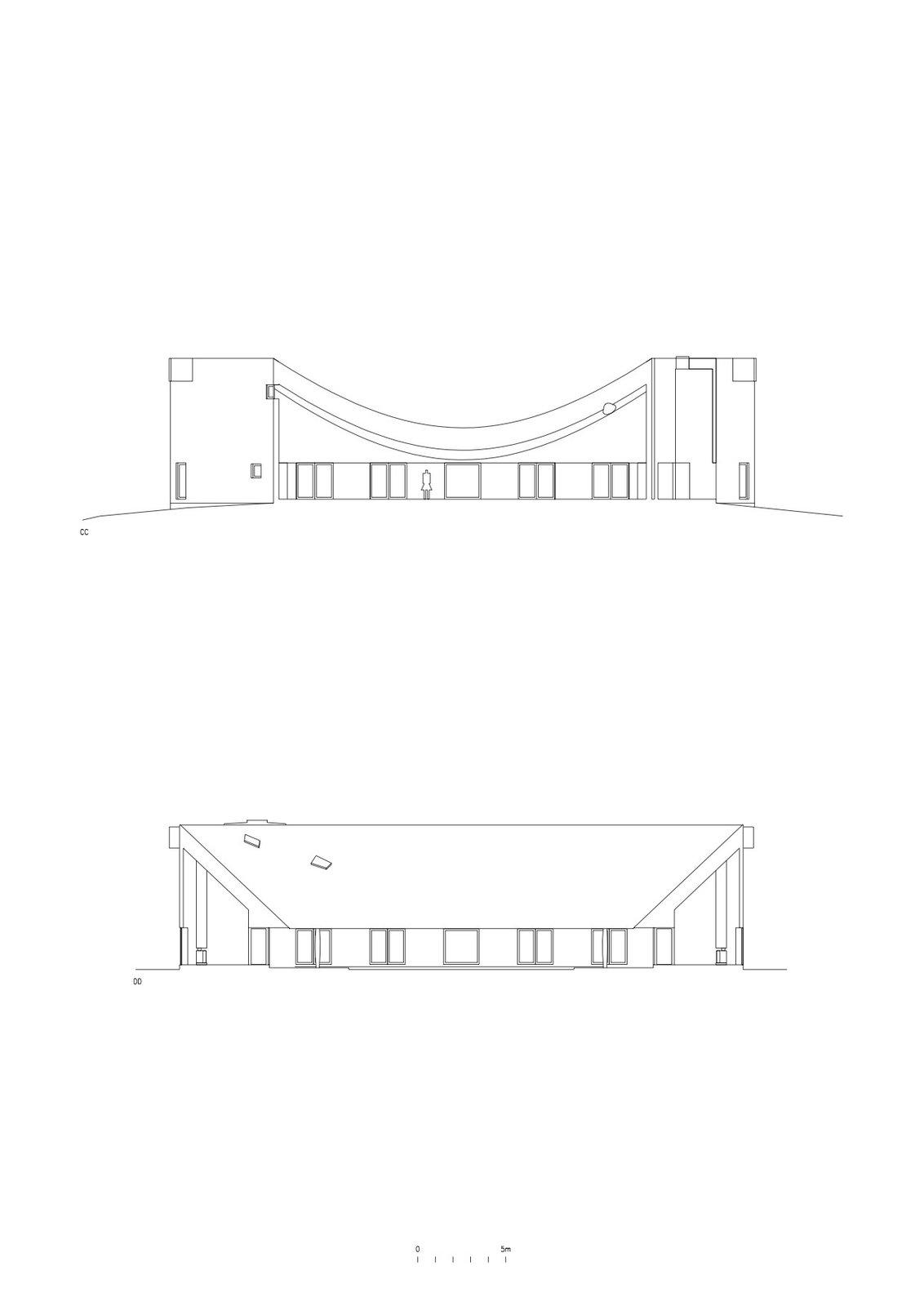 Cross section of Rode House by Pezo von Ellrichshausen Arquitectos.