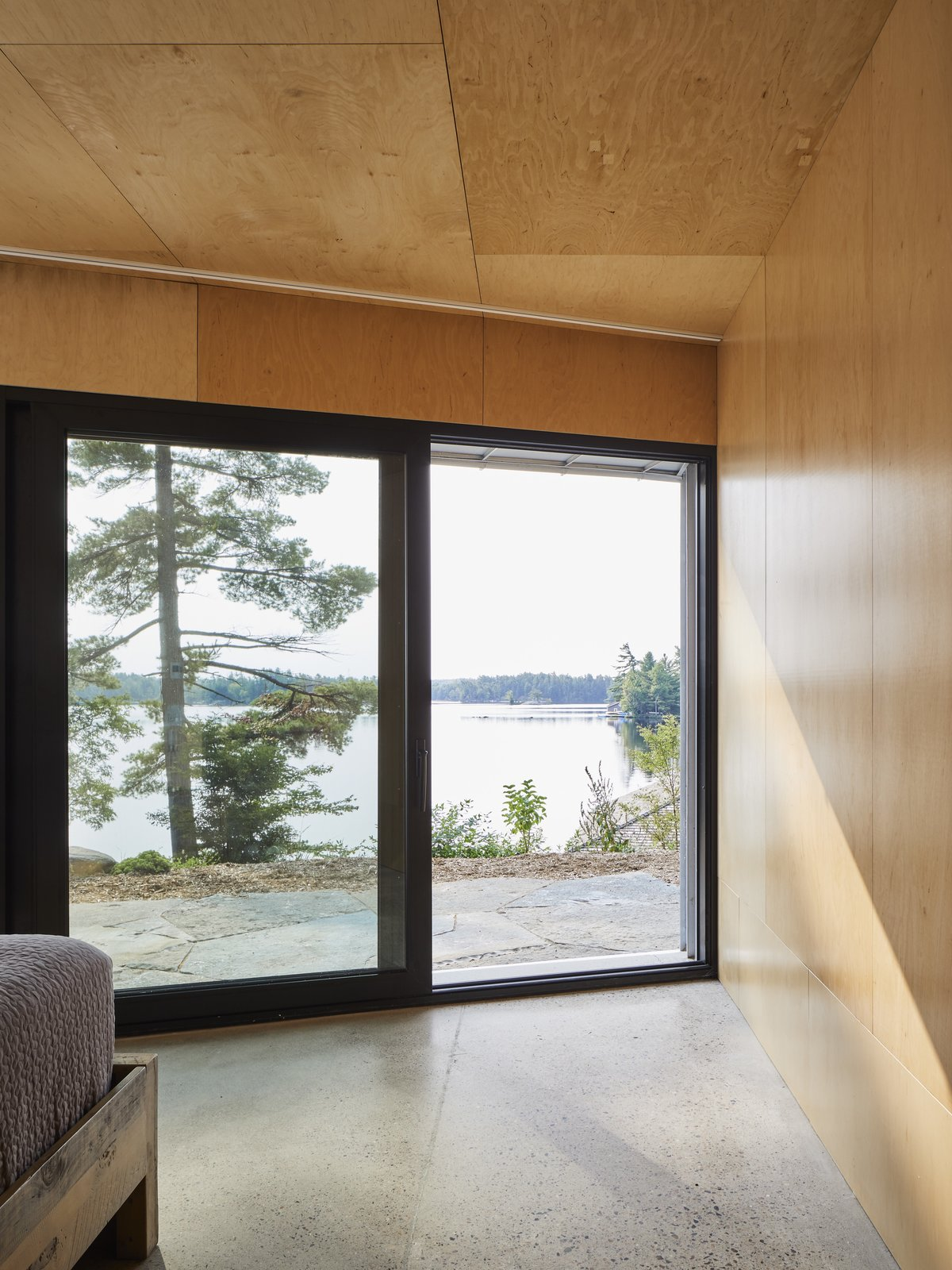 A lake view bedroom.