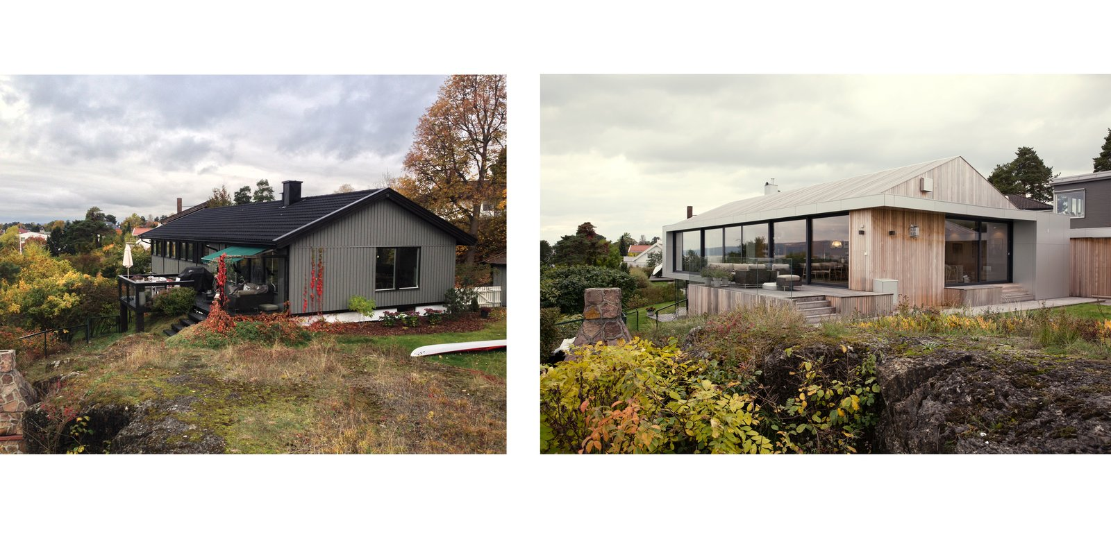 A Moelven modular prefab home in Norway, before and after renovation.