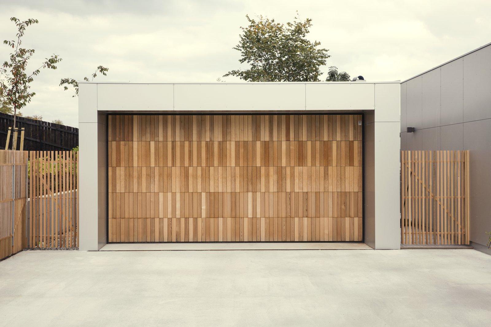 A cedar clad garage door.