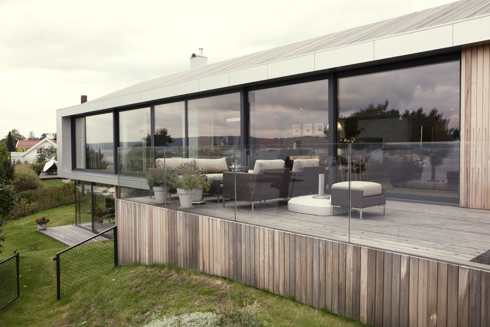 A raised deck that is accessible via the living and dining area.