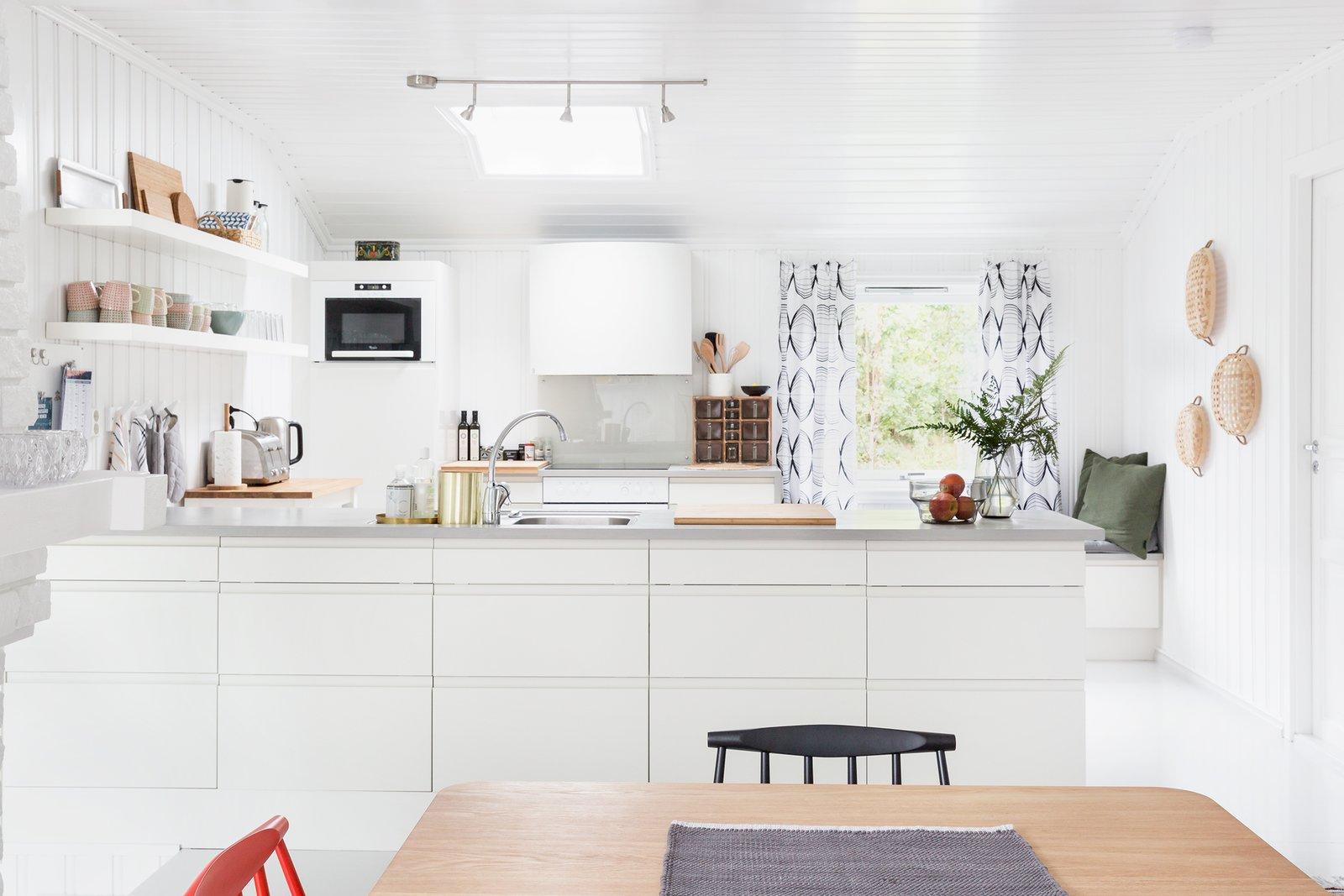 A skylight brightens to kitchen.