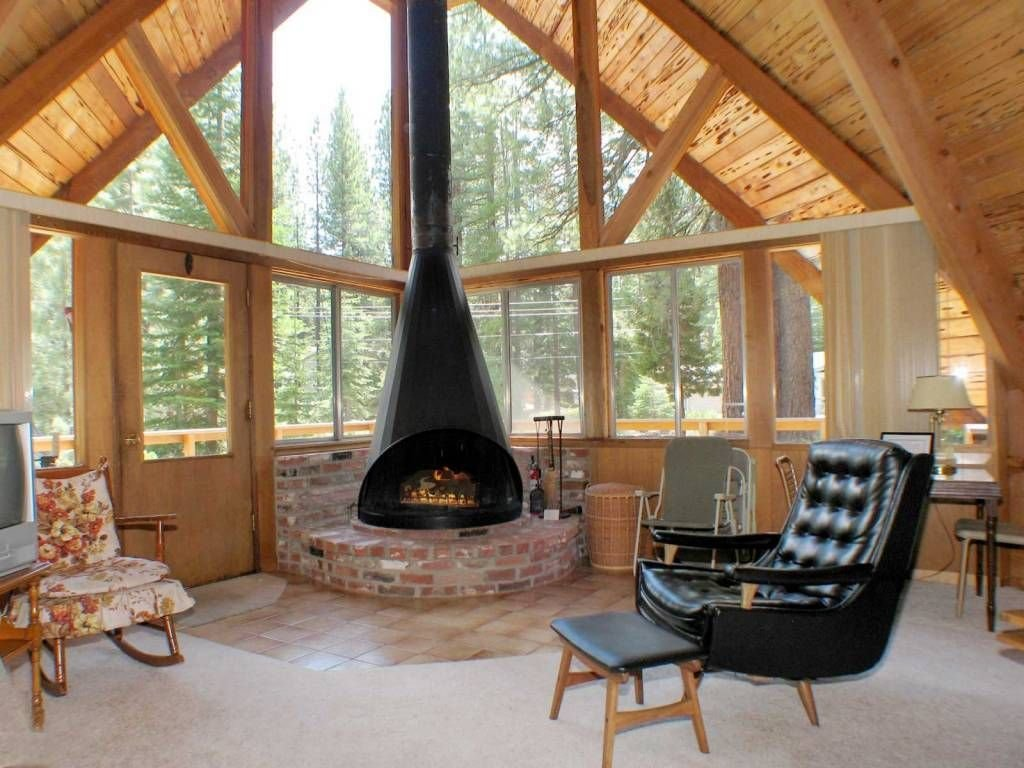 A South Lake Tahoe A-frame with a wood-burning fireplace.