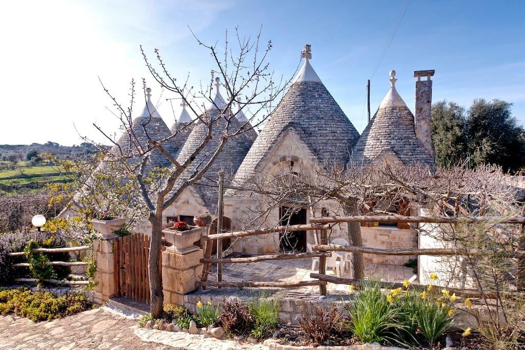 A traditional trullo home in the town of Cisternino in Italy's Puglia region.