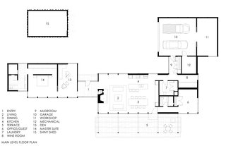 """This Glass House and """"Shiny Shed"""" Merge With Nature in Minnesota - Photo 15 of 15 - A quick peek at the floor plan drawing."""