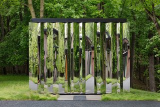 """This Glass House and """"Shiny Shed"""" Merge With Nature in Minnesota - Photo 11 of 15 - The shed's mirrored surface reflects delightfully distorted images of the natural surroundings."""