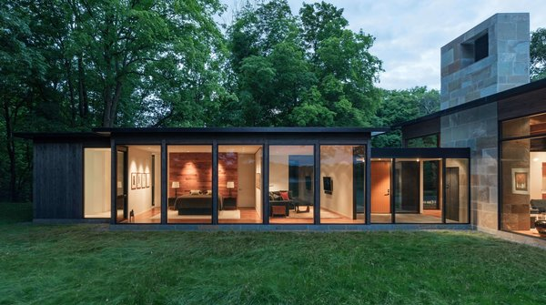 The secluded site allows for a high level of transparency in the design.