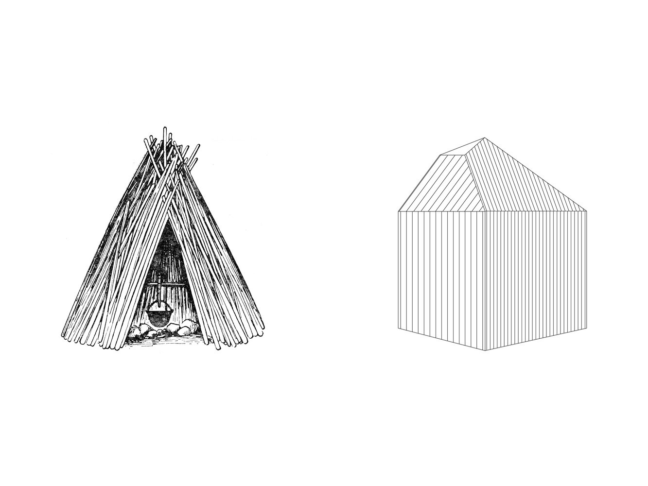 An ancient Estonian wigwam-like cabin informs the design of the forest retreat.