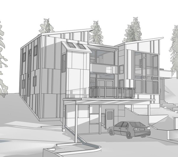 Modern home with front yard and kitchen. Photo 2 of Sebastopol Hillside Residence