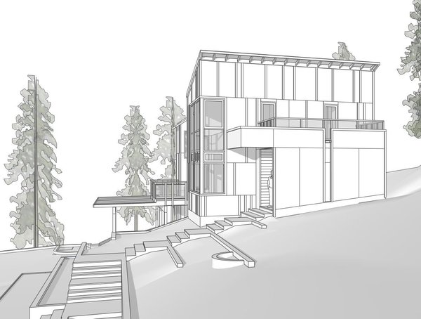 Modern home with wood, awning window type, outdoor, front yard, and trees. Photo  of Sebastopol Hillside Residence
