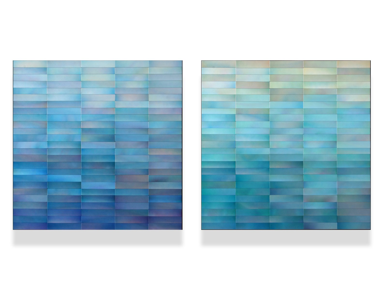 "(2) 30"" x 30"" x 2"" each, painted metal on wood panel  Cascade Series by Moran Brown Art"