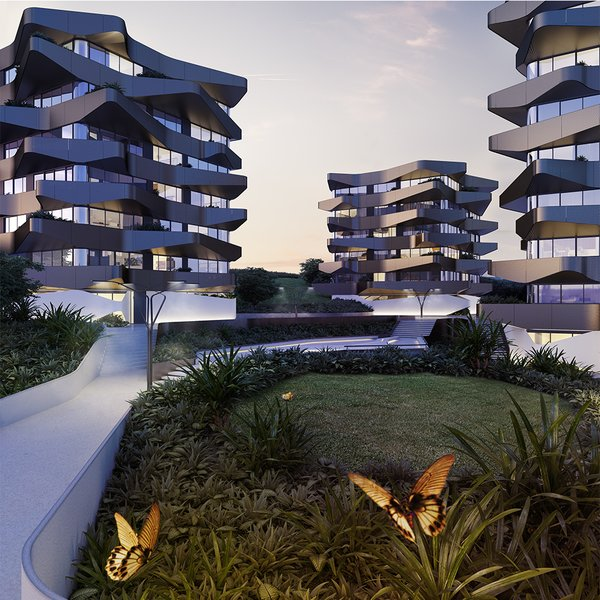 Modern home with living room. Street view Photo  of Yarra Butterflies