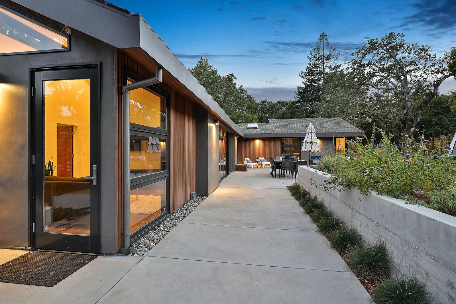 Rear yard  Tagged: Outdoor, Back Yard, Concrete Patio, Porch, Deck, and Walkways.  Portola Valley by patrick perez/designpad architecture